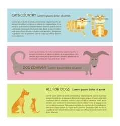 Cat and dog flyers vector