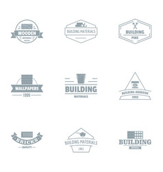 Civil engineering logo set simple style vector