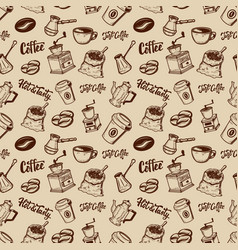 Coffee seamless pattern coffee beans mills cups vector