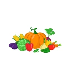Colorful vegetables composition vector