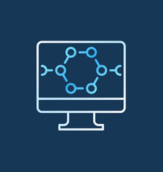 computer with molecular structure colored vector image