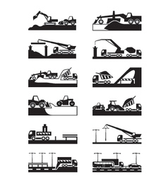Construction roads bridges and tunnels vector