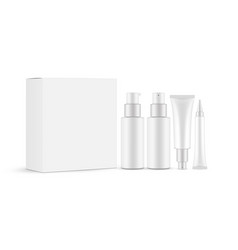 cosmetic set with packaging box vector image
