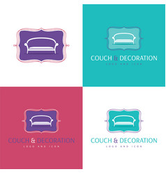 Couch and decoration logo and icon vector