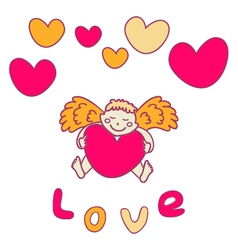 Cupid for Valentines Day with a heart in his hands vector