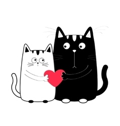 Cute cartoon black white cat boy and girl holding vector
