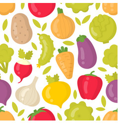 Cute vegetables seamless pattern on white vector