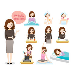 Daily routines of woman vector