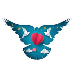 dove air balloon cartoon paper vector image