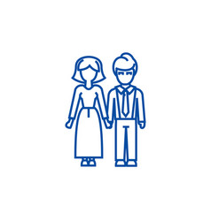 familywoman and man line icon concept family vector image