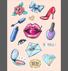 fashion patch badges with lips and make up vector image