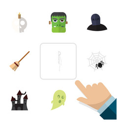 flat icon celebrate set skeleton monster vector image
