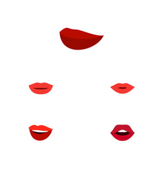 Flat icon mouth set of lipstick pomade teeth and vector