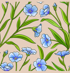flax plant pattern on color background vector image