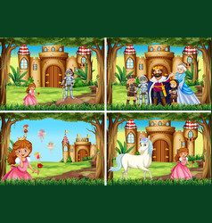 four background scene with princess and knight by vector image