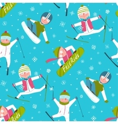 Funky Skier Snowboarder Winter Sport Cartoon vector image