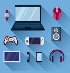 Game gadgets set gaming powerful laptop digital vector