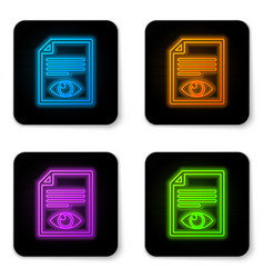 glowing neon paper page with eye symbol icon vector image