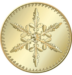 gold coin snowflake vector image