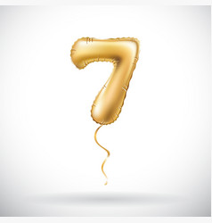 Golden number 7 seven metallic balloon party vector