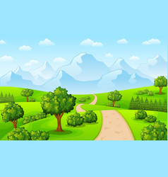 Green landscape with mountains and trees vector