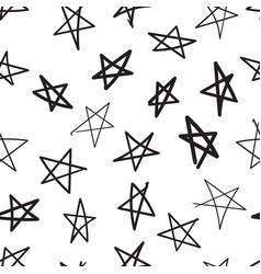 hand drawn stars icon seamless pattern background vector image