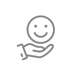Hand holds happy emoji good mood line icon share vector