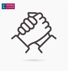 handshake line icon on white background editable vector image