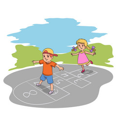 happy children hop playing game in yard on summer vector image