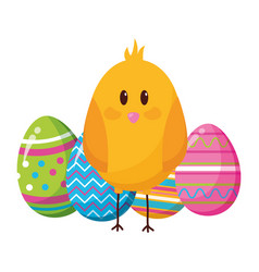 happy easter chick eggs vector image
