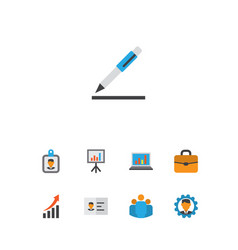 job icons flat style set with identification vector image