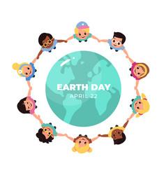 Kids earth world day children hold hands vector