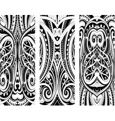 Maori style ornament set vector