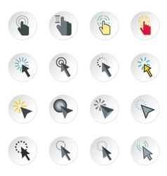 Mouse cursor icons set flat style vector image