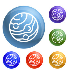 neptun planet icons set vector image