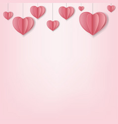 paper hearts border pink background vector image