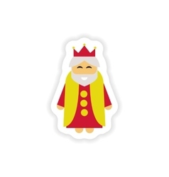 Paper sticker on white background king cartoon vector