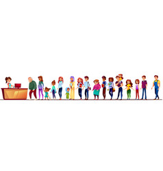 People in supermarket queue vector