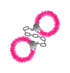 Pink handcuffs isolated on white vector image