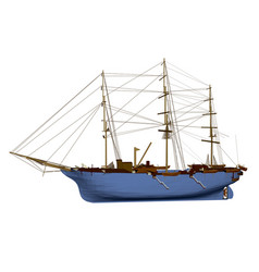 polygonal sailing ship isolated on white vector image