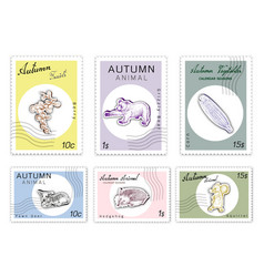 Post stamps set of autumn animals and plants vector