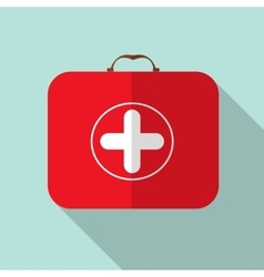 Red medical bag with a cross in modern flas design vector