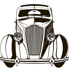 retro car front view black sketch vector image