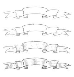 ribbon scrolls hand drawn sketch vector image