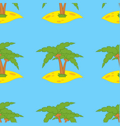 seamless pattern of green palms on yellow sand vector image