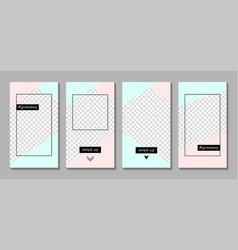 set instagram stories templates vector image