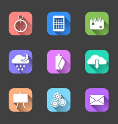 set of flat icons with a shadow on multi-colored vector image