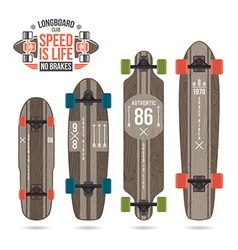 Set of prints on longboard vector