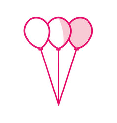 Shadow pink balloons cartoon vector