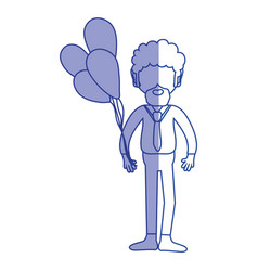 Silhouette man with beard and balloons in the hand vector